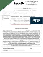Jr High 2010 Registration Form