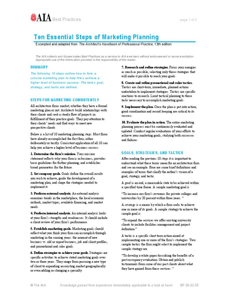 Ten Essentials Of Marketing Planning Strategic Management Goal