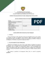 Formatos Para Proyecto y Trabajo (Estructura Del Proyecto)