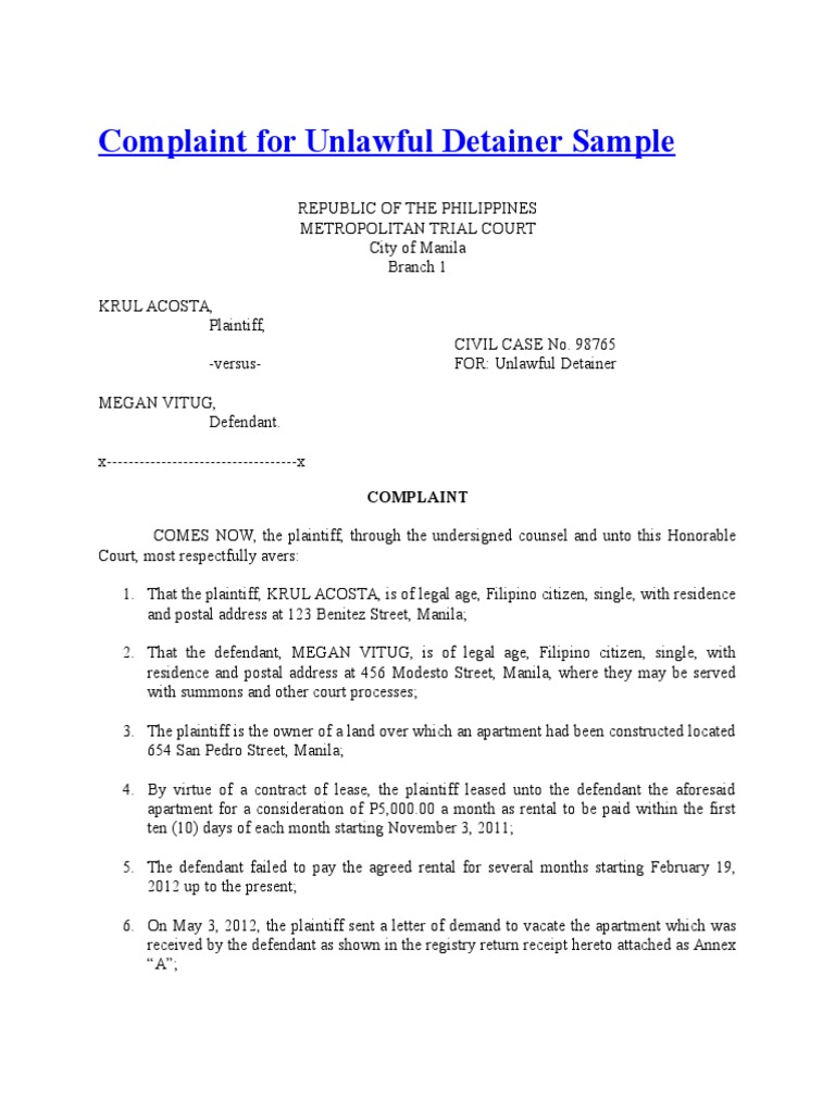Complaint For Unlawful Detainer Sample | Lawsuit | Complaint  Complaint Mail Format