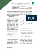 Laboratorio # II Síntesis y Caracterización Del Complejo Nitrato de Tetraaminocarbonatocobalto (III)