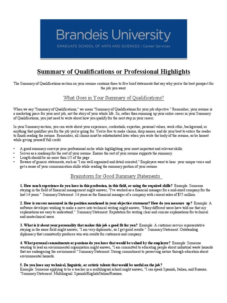 Qualifications Summary Resume Multilingualism