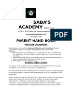 Saba's Academy Parent Hand Book 2016