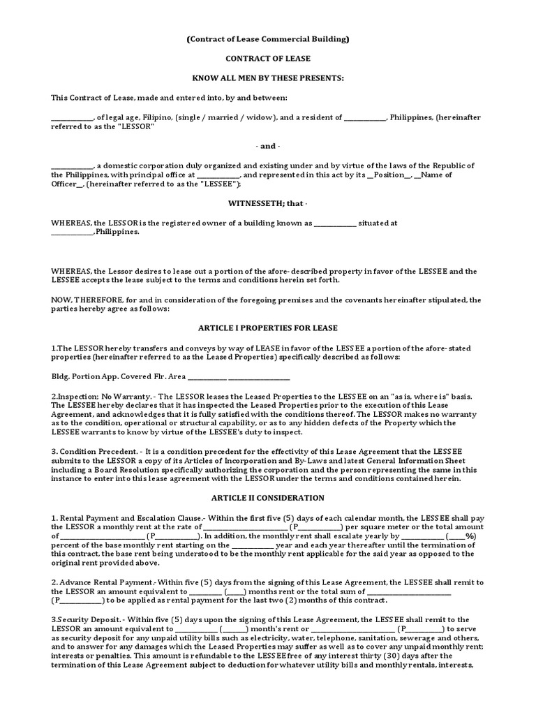 contract of lease commercial building