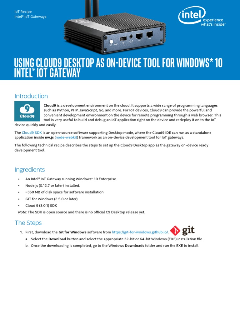 Using Cloud9 Desktop for Windows 10 Gateway_Rev1_0 | Integrated