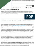 Ya Se Agotaron Las Plateas Para Ver a La Selección en Córdoba Frente a Bolivia