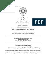 Metropolitan Theatre, LLC v. Yes Prep Public Schools, Inc., No. 01-15-00480 (Tex. App. Feb. 25, 2015)