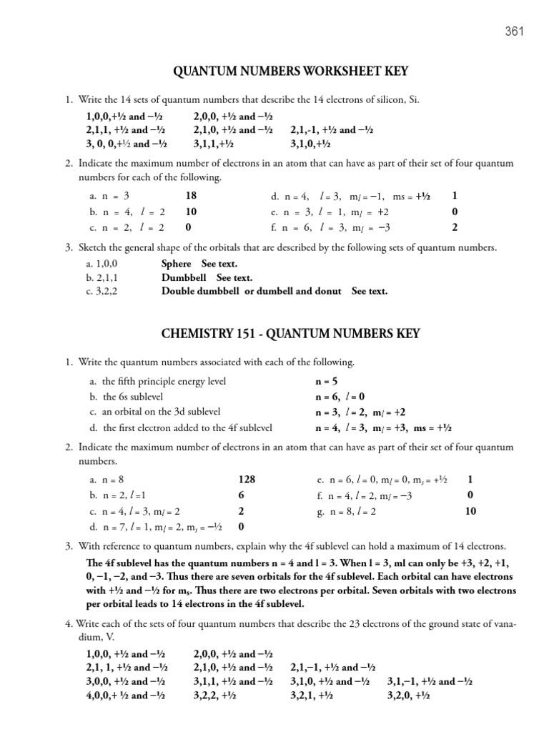 Quantum Numbers And Pairs Worksheet - Kidz Activities