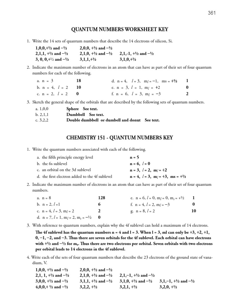 Quantum Numbers And Pairs Worksheet - Livinghealthybulletin