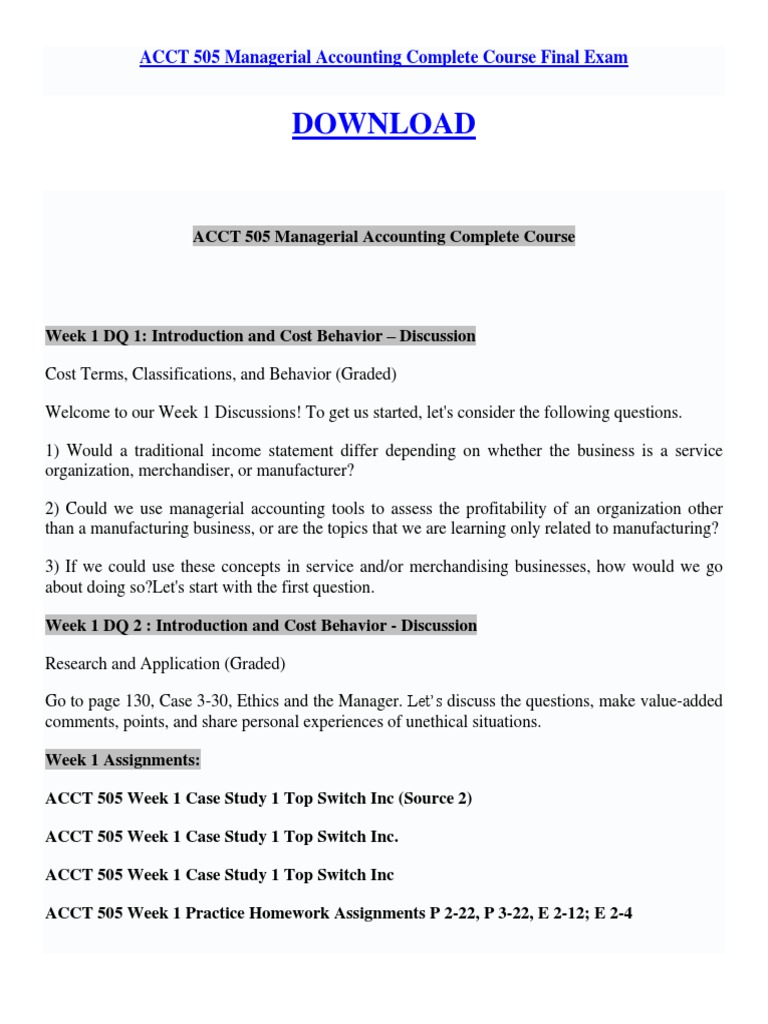 ac505 managerial accounting final exam essay Free essay: page 1 1 (tco a) ac505 practice final 2668 words | 11 pages ac505 managerial accounting practice final instructions.