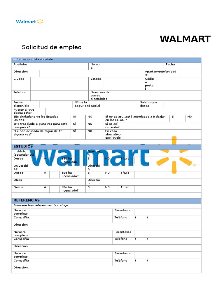 Walmart Solicitud De Empleo