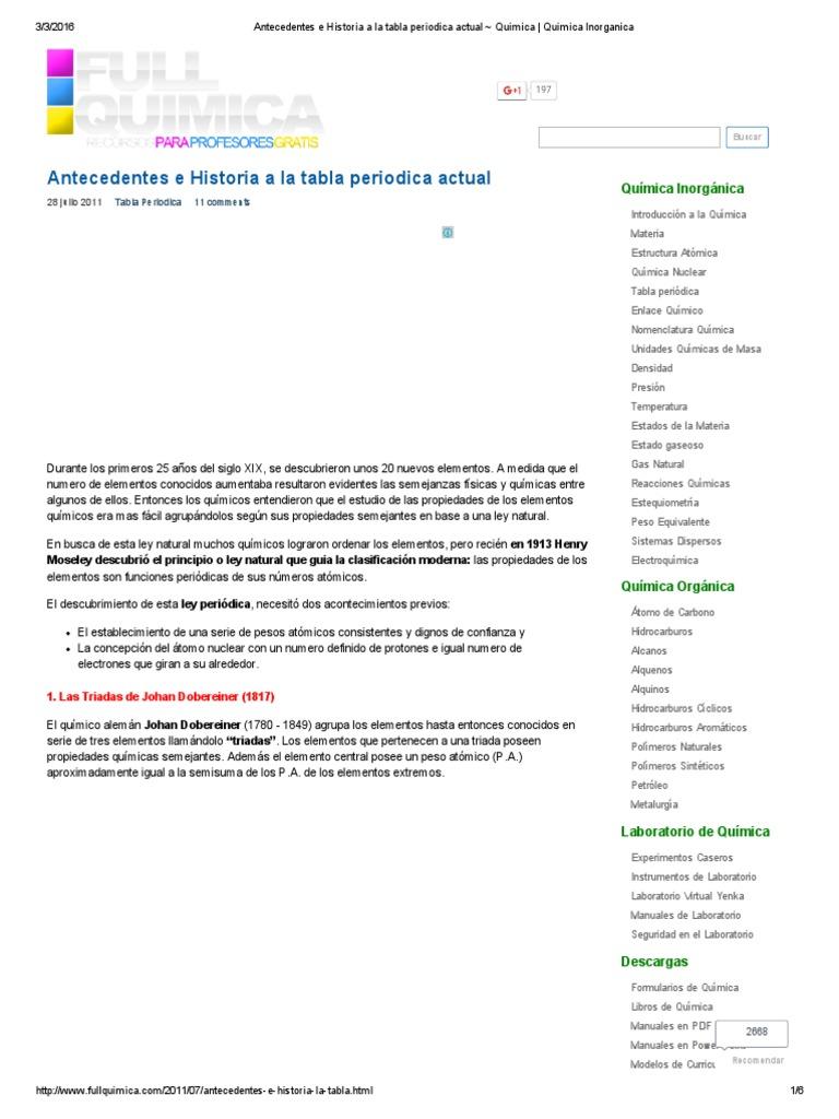 Antecedentes e historia a la tabla periodica actual quimica antecedentes e historia a la tabla periodica actual quimica quimica inorganica urtaz Images