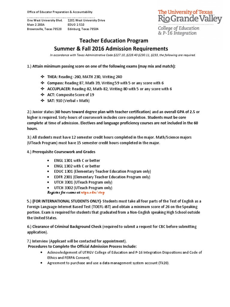 Summer Fall 2016 Admission Flyer