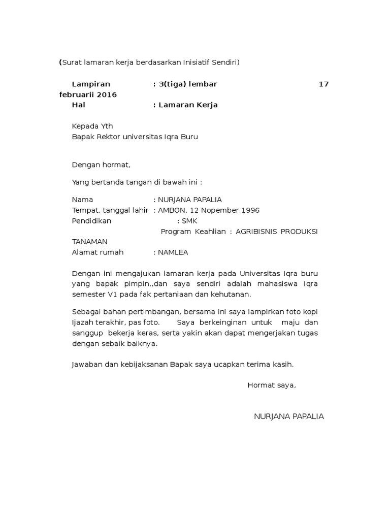 Contoh Surat Lamaran Pekerjaan Inisiatif Sendiri Bagi Contoh Surat