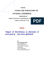 Impact of Micro Finance on Alleviation of Rural Poverty and Social Upliftment