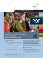 DCU MBS in Human Resource Management Factsheet