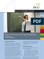 DCU MSc in Finance and Capital Markets Factsheet