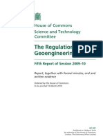 The Regulation of Geo-Engineering UK Parliment