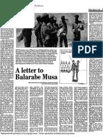 Letter to Balarabe Musa - 1985