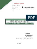 Mionographie Econ de La Commune de Abom Calavi