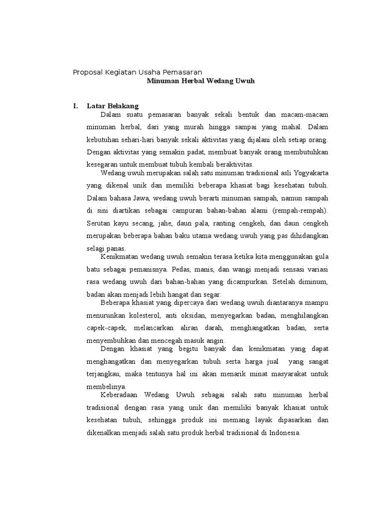 138861115 Proposal Kegiatan Usaha Minuman Herbal Wedang Uwuh