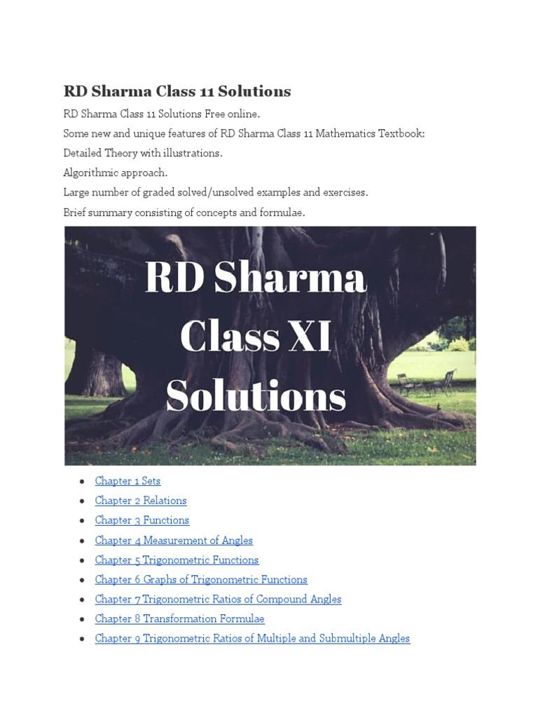 11th Maths Rd Sharma Ebook