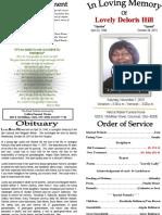 Lovely Deloris Hill Funeral Program