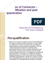 Selection of Contractor - PQ and Post Q