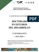 Convocatoria Doctorado en Estudios del Desarrollo V Generación (2016-2020)
