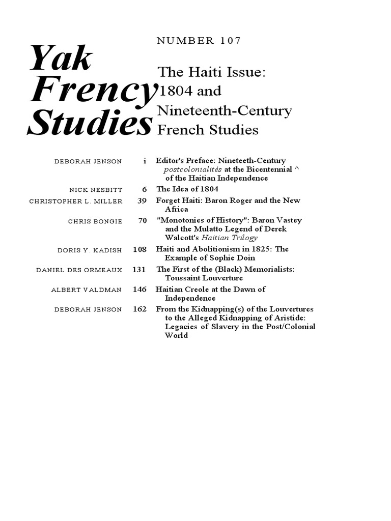 The Haiti Issue 1804 And Nineteenth Century French Studies Age Of