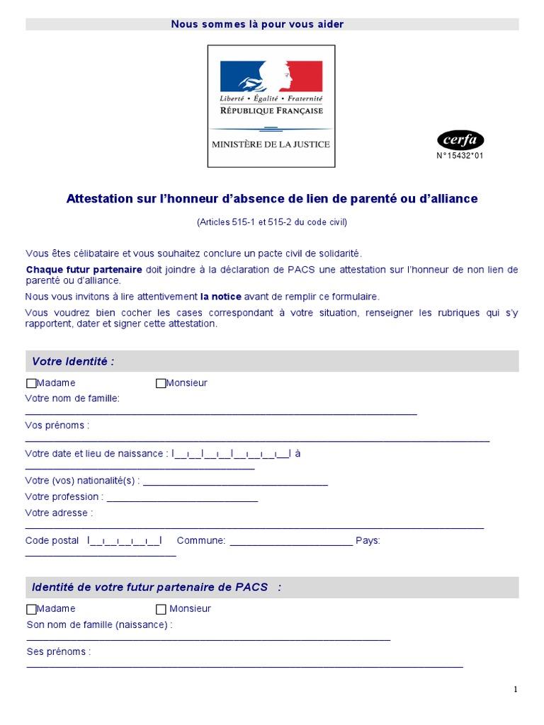 Doc Attestation Sur L Honneur Cpam