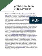 Comprobación de La Ley de Lavoiser