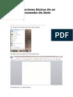 Operaciones Básicas de Un Procesador de Texto