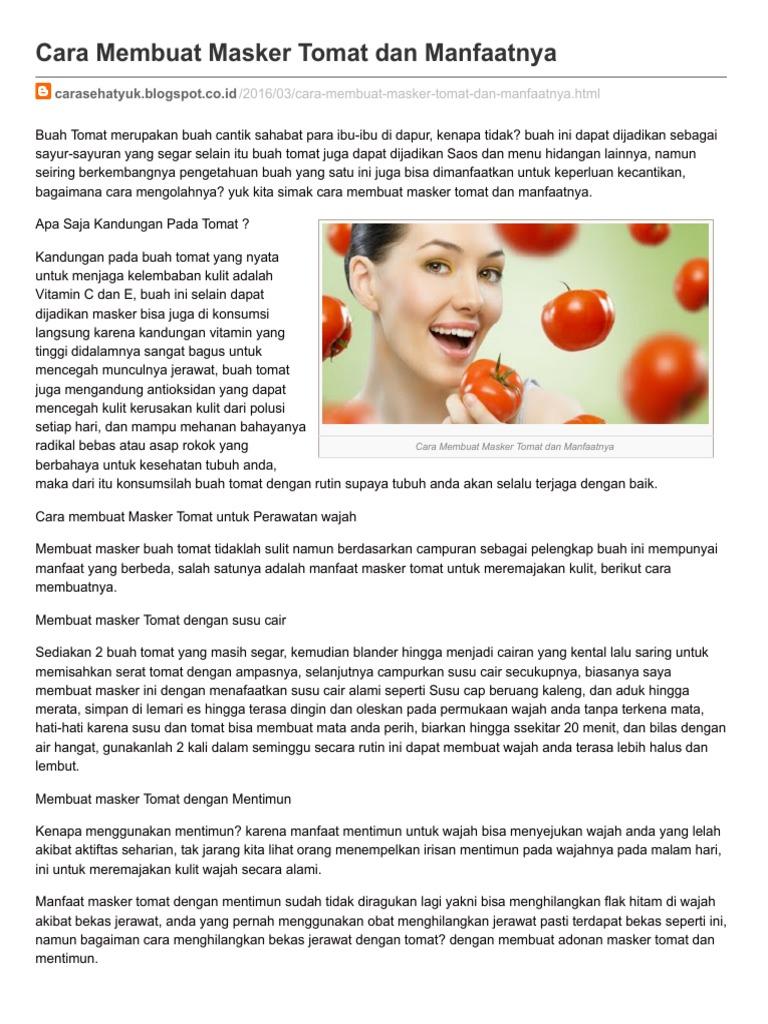 Carasehatyuk Blogspot Co Id Cara Membuat Masker Tomat Dan Manfaatnya