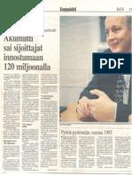 Lehtileike - Akumiitti Sai Sijoittajat Innostumaan 120 Miljoonalla - 2000-09-12 Kauppalehti