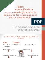Transversalización Del Género. Ecuador. Solange Grandjean (1)