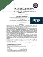 6. Effect of Organizational Work Climate on Job Satisfaction - An Empirical Study of Engro Foods Ltd Pakistan