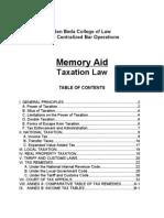 Memory Aid - Taxation