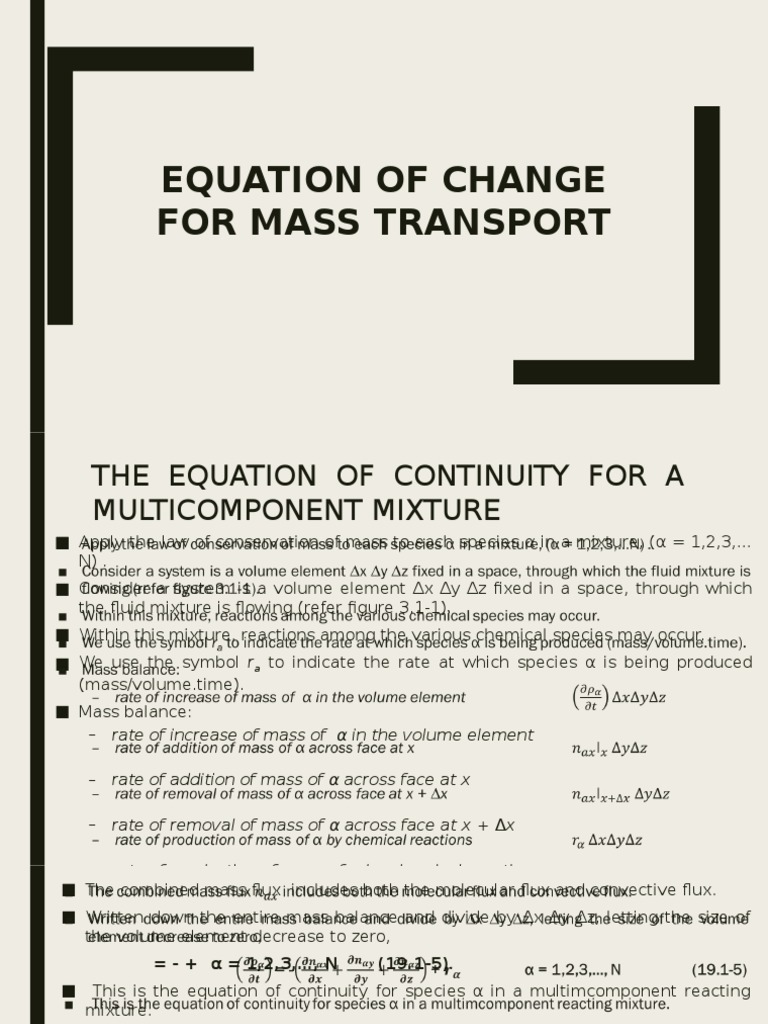 equation of change for mass transport | diffusion | flux