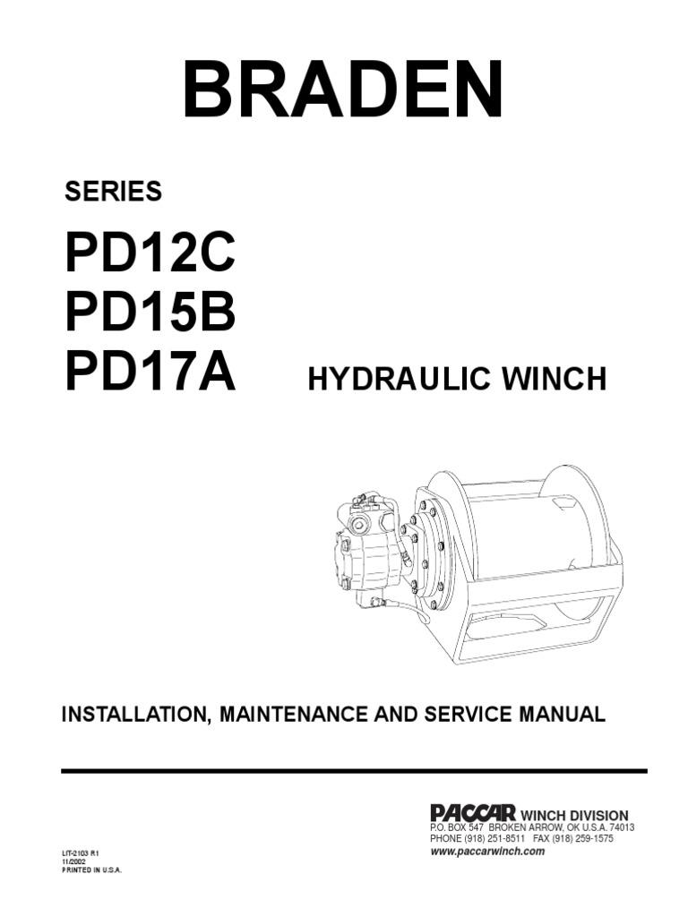 braden pd series hydraulic winch brake valve rh es scribd com Braden Winch PD 18 braden electric winch wiring diagram