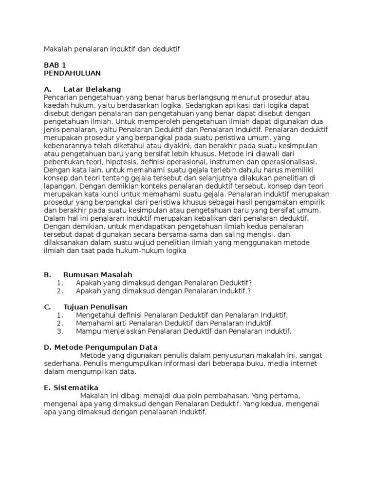 Makalah Bahasa Indonesia Tentang Paragraf Induktif Dan Deduktif Contoh Makalah