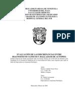 Evaluacion de Las Discrepancias Entre Diagnosticos Clinicos y Hallazgos de Autopsia