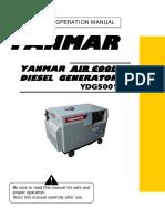 Yanmar Air Cooled,Diesel Generator YDG5001SE
