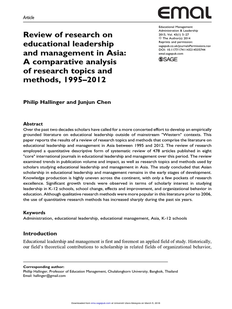 educational management and administration research topics