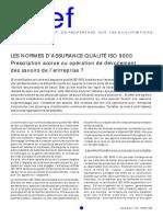LES NORMES D'ASSURANCE QUALITÉ ISO 9000