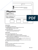 Edexel GCSE (9-1) Science CP1 Motion and CP2 Forces and Motion Test 15_16 With Mark Scheme