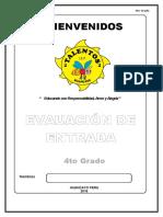 Evaluacion de Entrada 4to Grado 2016 Matematica