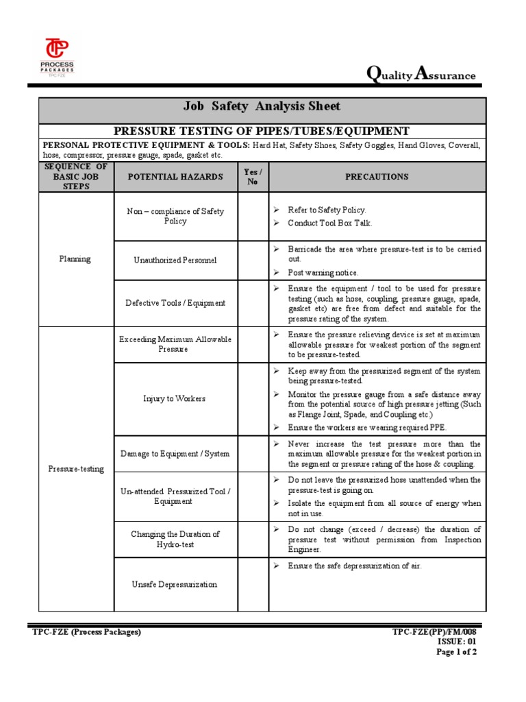 Job Hazard Analysis Template  Hazard Analysis Template
