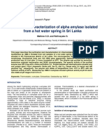 Isolation and Characterization of Alpha Amylase Isolated From a Hot Water Spring in Sri Lanka