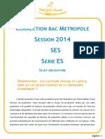 Bac Correction Ses Metropole 2014 Jeanselme